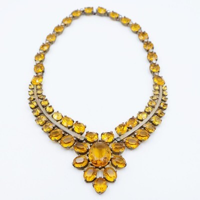Collectible Eisenberg Original Faux Topaz Necklace 1940s