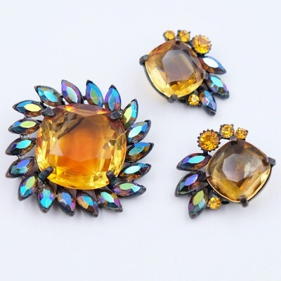 Claudette Vintage Set Brooch and Earrings 1950s
