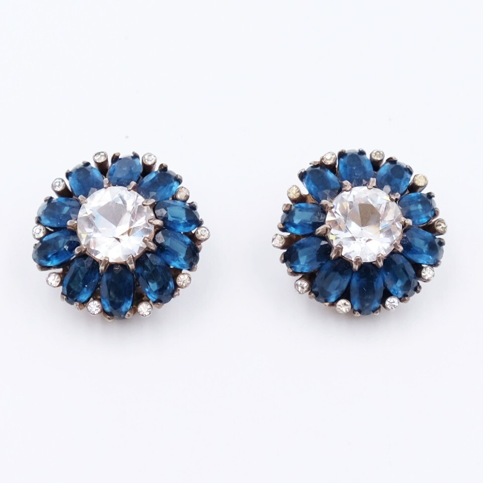 Vintage Sterling Deep Blue Earrings