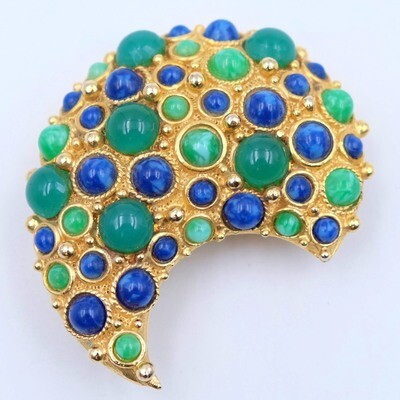 Vintage Mandle Brooch Green and Blue 1960s