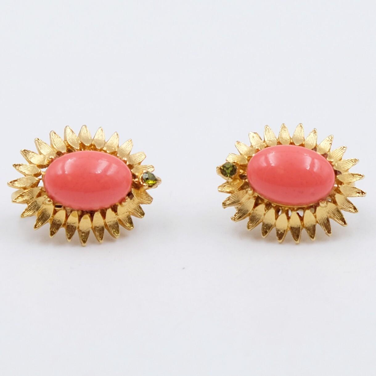 Vintage Mini Orange Clip on Earrings 1960s