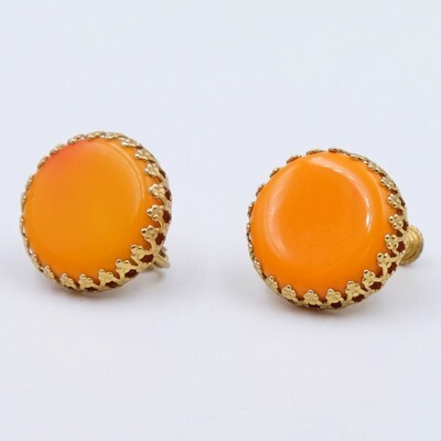 Vintage Miriam Haskell Orange Glass Earrings 1960s