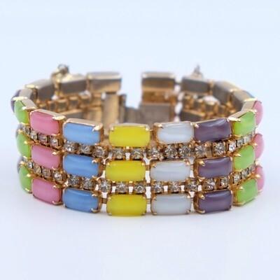 Vintage Multicolor Glass Bracelet 1950s