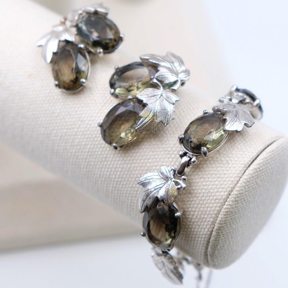 Vintage Elsa Schiaparelli smoky glass bracelet and earrings set 1960s