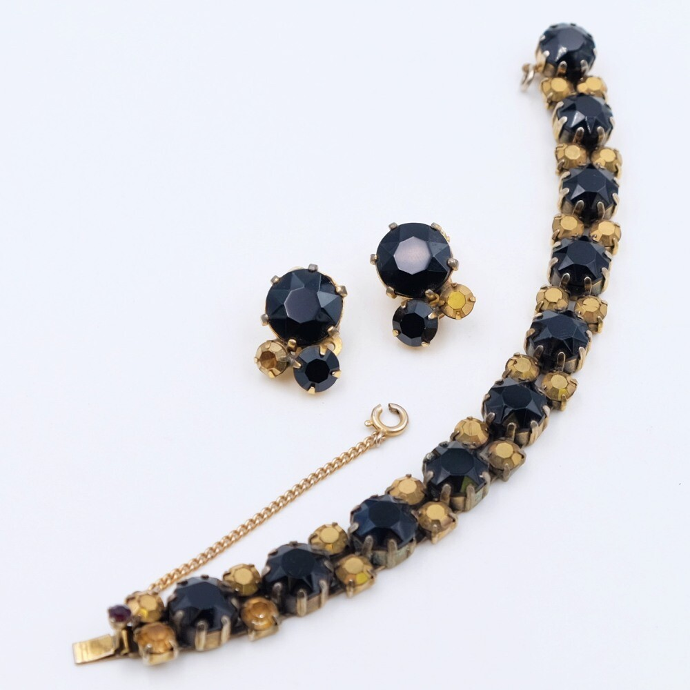 Vintage Elsa Schiaparelli bracelet and earrings set black glass 1950s