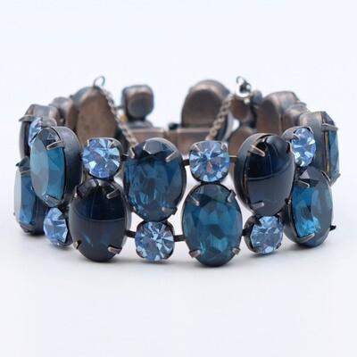 Vintage Blue Glass Regency Bracelet