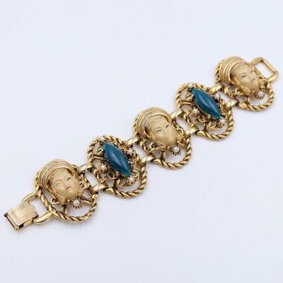 Vintage Selro Asian Faces Bracelet