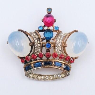 Trifari Sterling Crown Brooch Faux Moonstones