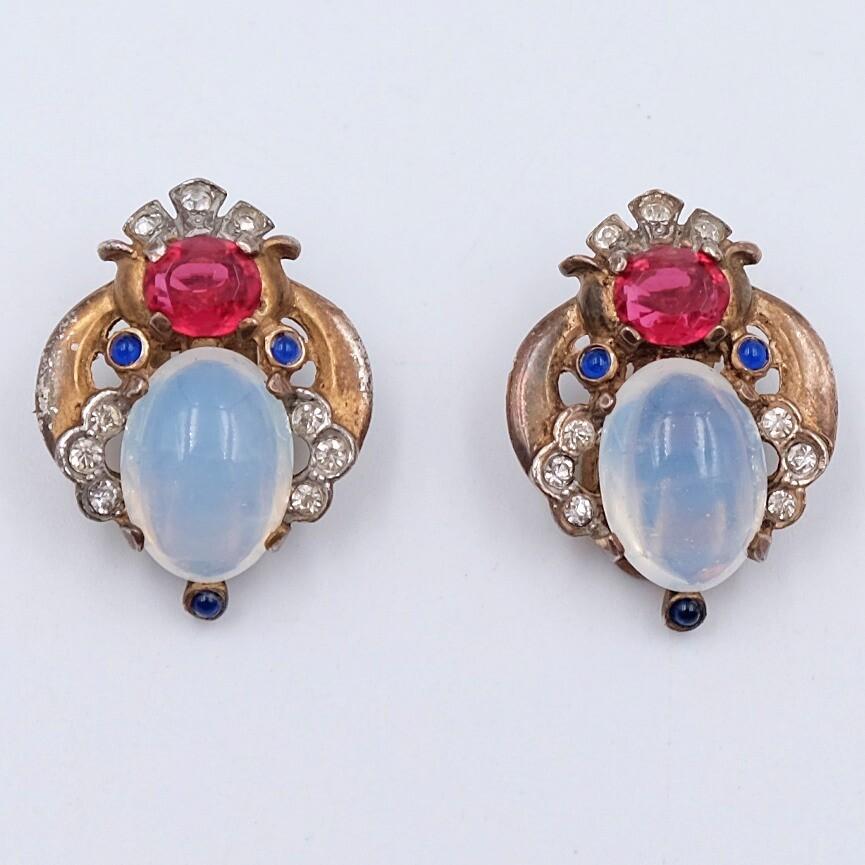 Trifari Sterling Earrings Faux Moonstones Book piece