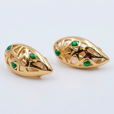 Vintage Christian Dior Clip on Earrings with green enamel 1990s