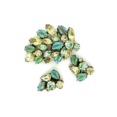 Vintage Regency Spring Leaf Brooch and Earrings 1950s