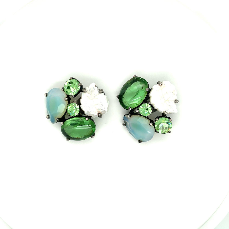 Vintage Elsa Schiaparelli Spring Leaf Earrings 1950s