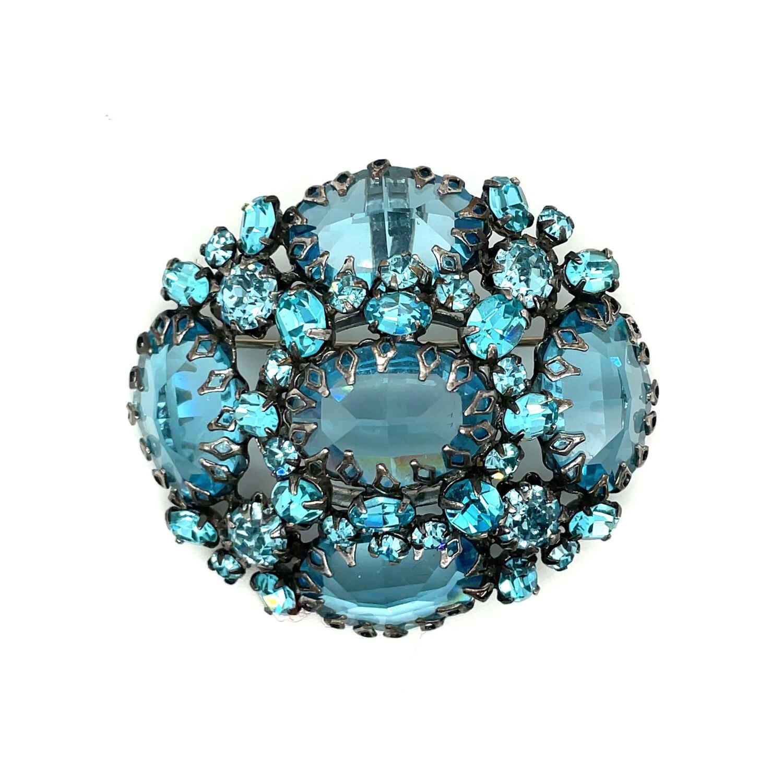 Vintage Schreiner Blue Aqua Brooch 1960s