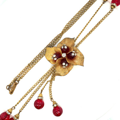 Vintage Miriam Haskell Red Flower Necklace 1970е