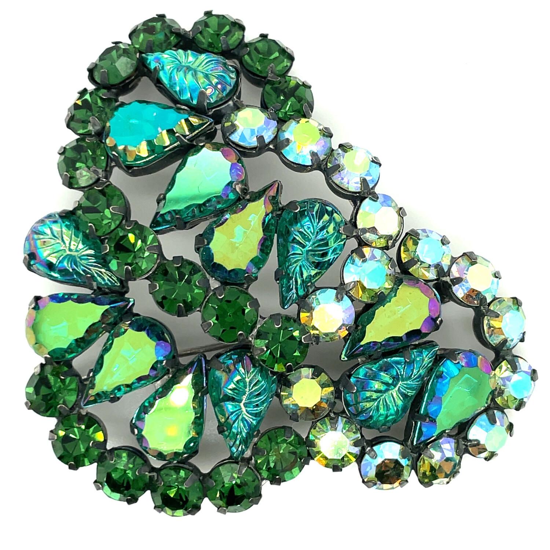 Vintage Green Mirror Elsa Schiaparelli Brooch 1950s