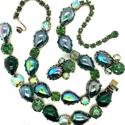 Vintage Regency Deep Green 3 pieces set 1950s