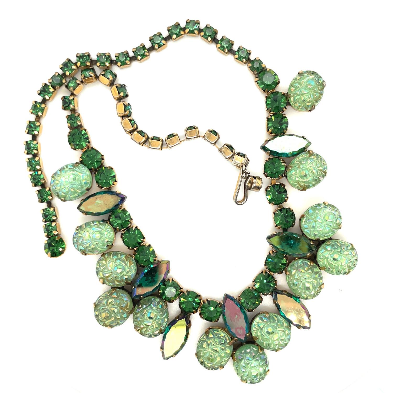 Vintage Elsa Schiaparelli Green Lime Necklace 1950s