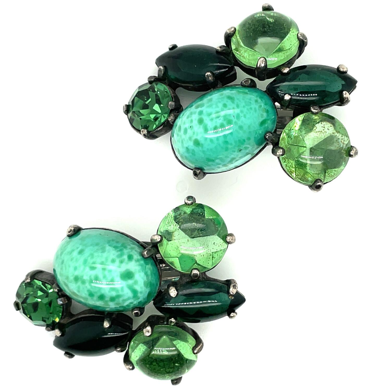 Vintage Green Glass Elsa Schiaparelli Earrings 1950s