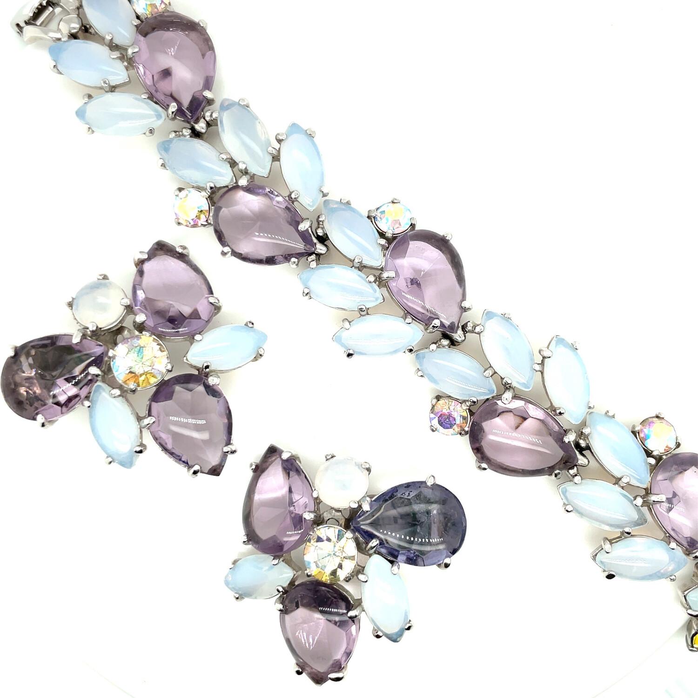 Vintage Elsa Schiaparelli Purple Lilac Bracelet and Earrings set 1950s