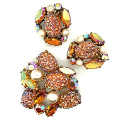 Vintage Brooch and Earrings Elsa Schiaparelli 1950s