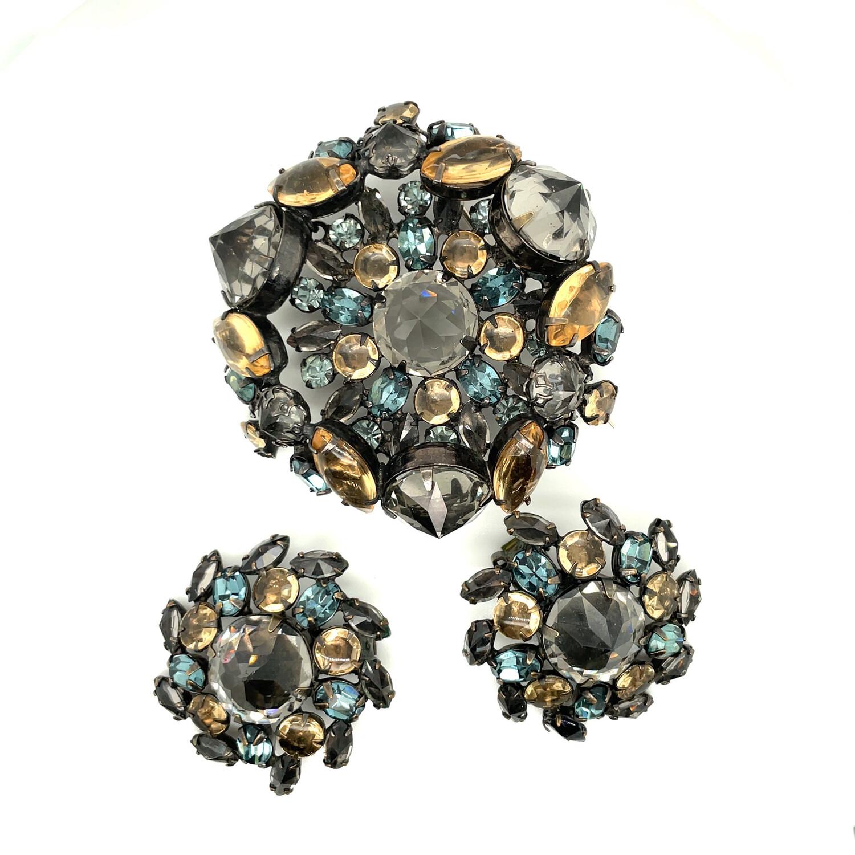Vintage Schreiner New York Brooch and Earrings 1950s