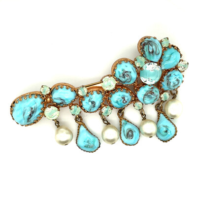 Vintage Turquoise Gripoix Brooch France 1950s