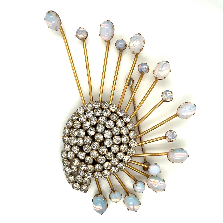 Vintage Comet Pin faux opals and diamonds 1950s