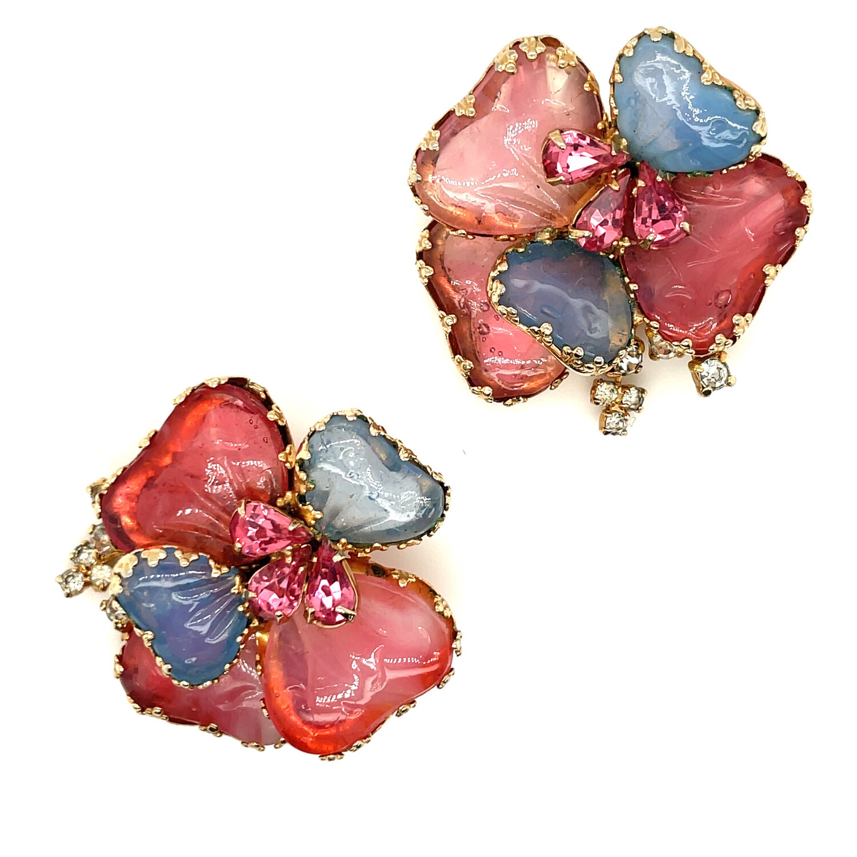 Vintage Spring Flowers Clip on Earrings by Julio 1950s