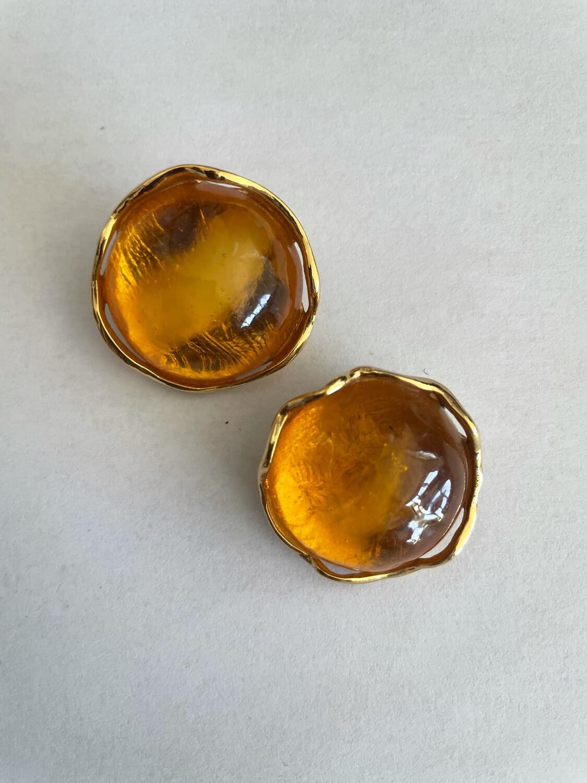 Yves Saint Laurent Goossens Orange Round Earrings