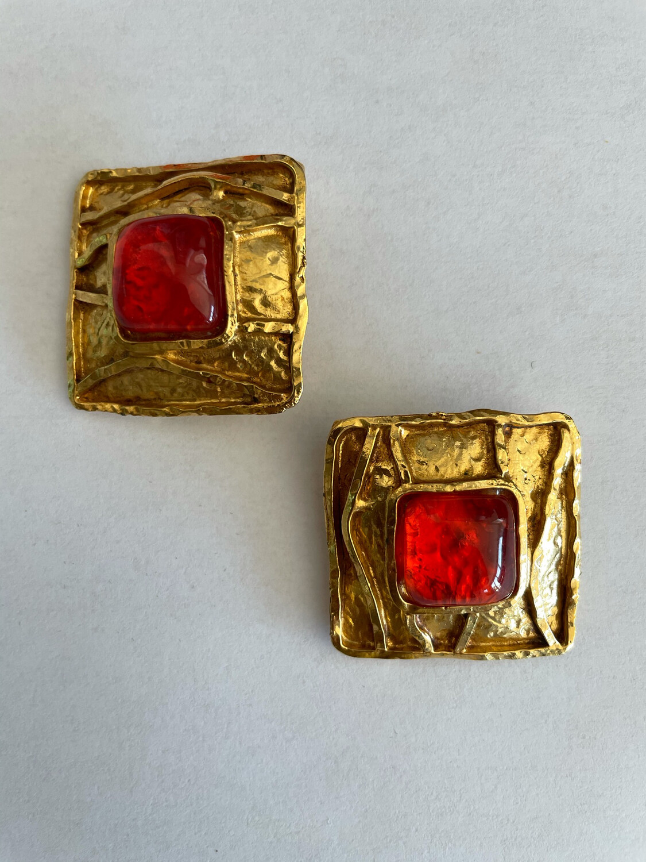 Christian Lacroix Square Earrings 1990s