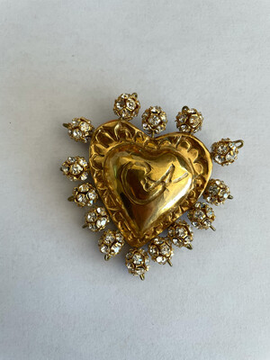 Vintage Christian Lacroix Tiny Heart Rhinestones 1990s