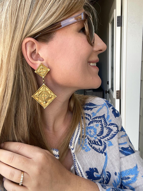 Lanvin Paris Geometry Earrings 1970s