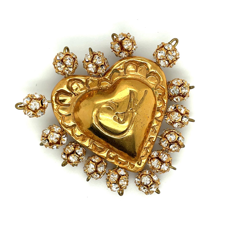 Vintage Christian Lacroix Rhinestones Mini Heart Brooch 1990s