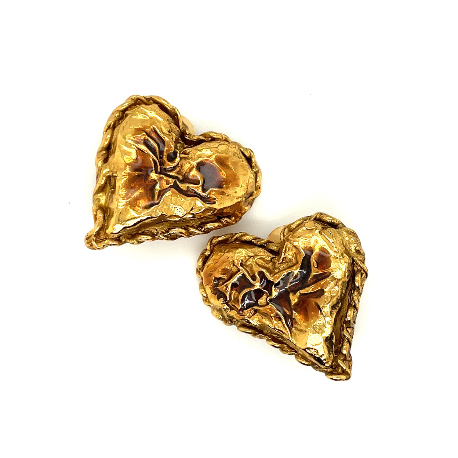 Vintage Tiny Christian Lacroix Chocolate Hearts Earrings 1990s