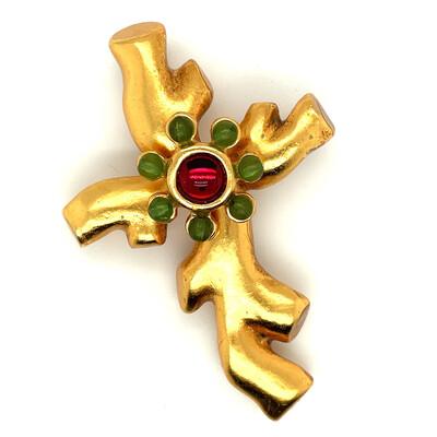 Vintage Christian Lacroix Coral Cross 1990s