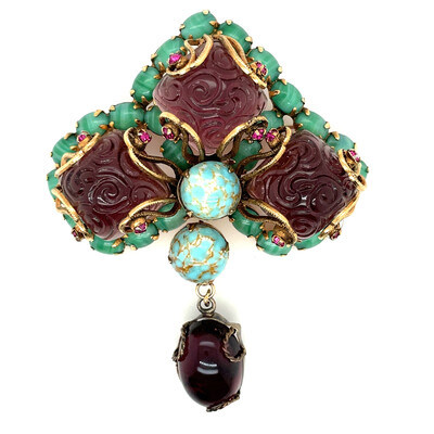 Vintage Purple Green Unsigned Schreiner Brooch 1950s
