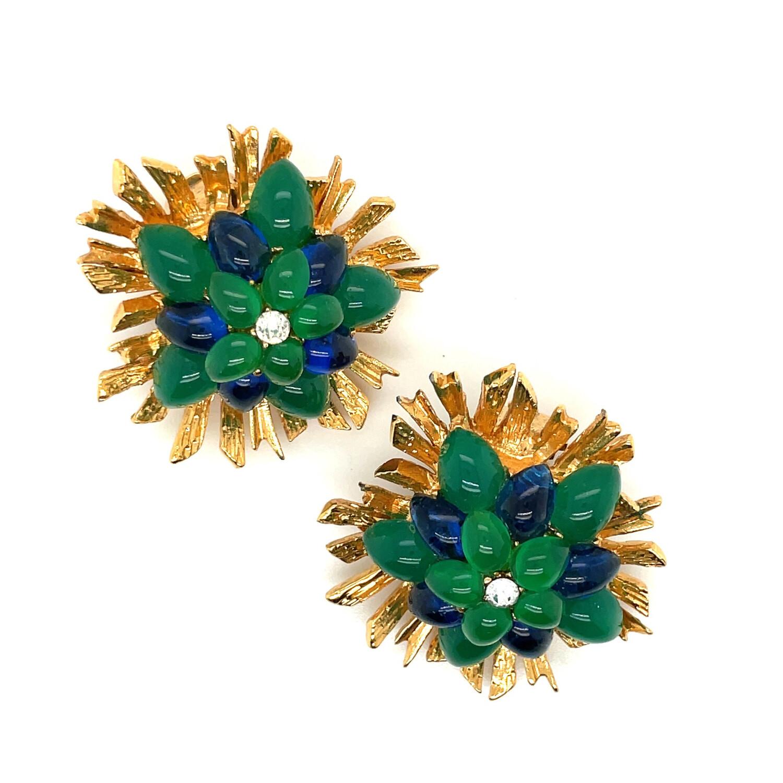 Vintage Green Blue Glass Earrings Signed Depose France 1980s