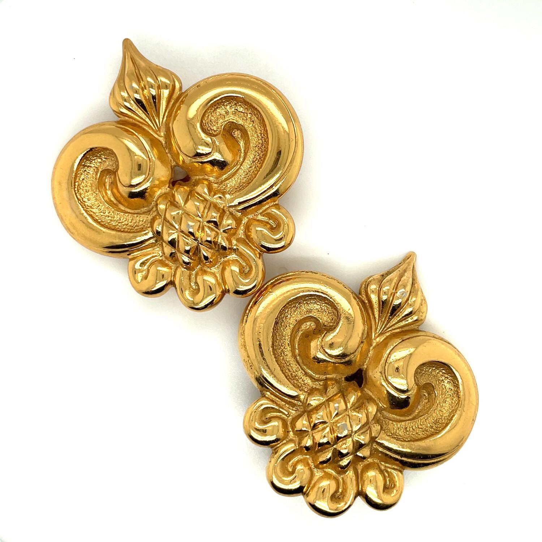 Vintage Massive Royal Jean Louis Scherrer France Earrings 1980s