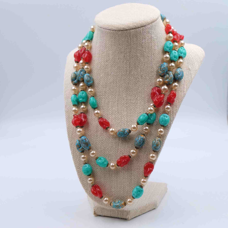 Vintage Long Glass Beads Sotuar 1930s