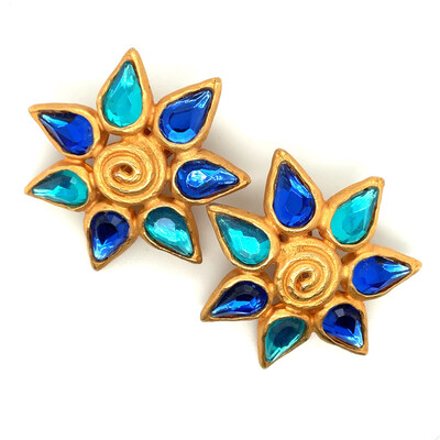 Vintage Blue Star Earrings 1980s