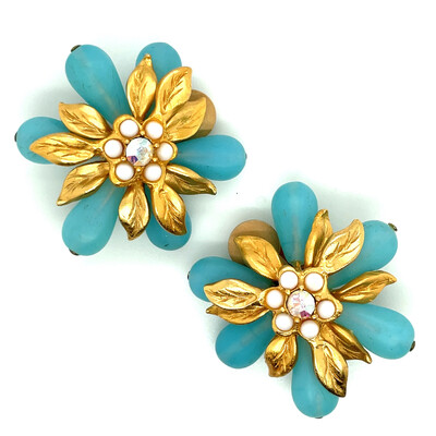 Vintage Spring Flowers Christian Lacroix Earrings 1990s