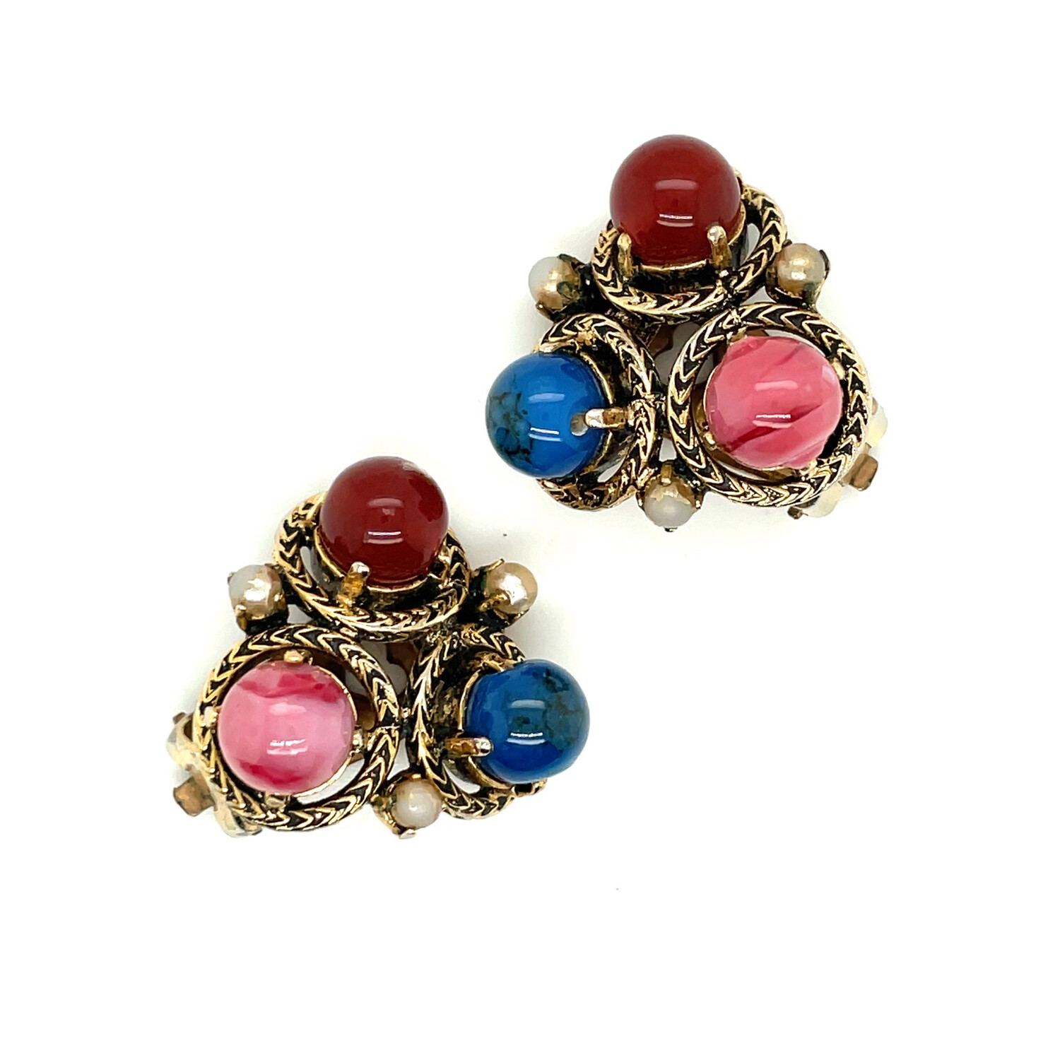 Vintage Cabochon Multicolor Earrings
