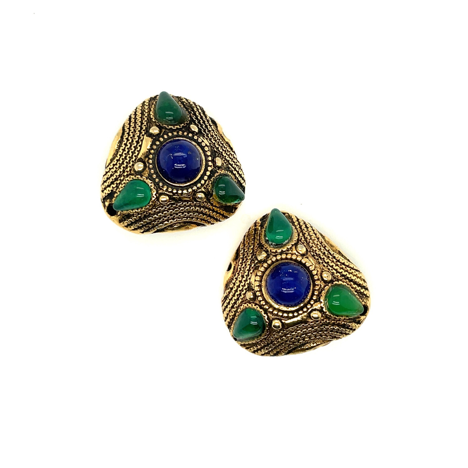 Vintage Oriental Unsigned Earrings 1970s