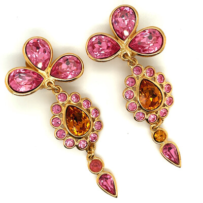 Vintage Pink Flowers Yves Saint Laurent Earrings YSL 1990s
