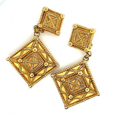 Vintage Lanvin Paris Geometry Earrings 1970s
