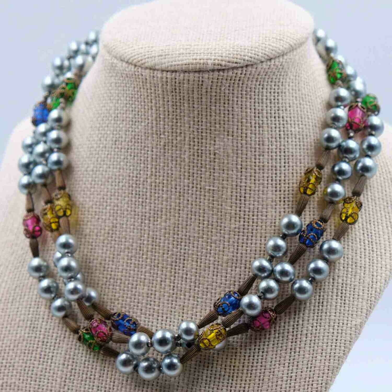 Vintage Miriam Haskell Grey Faux Pearls Necklace 1950s