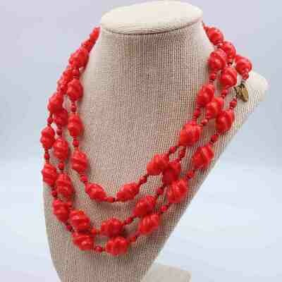 Vintage Miriam Haskell Red Glass Flapper Necklace