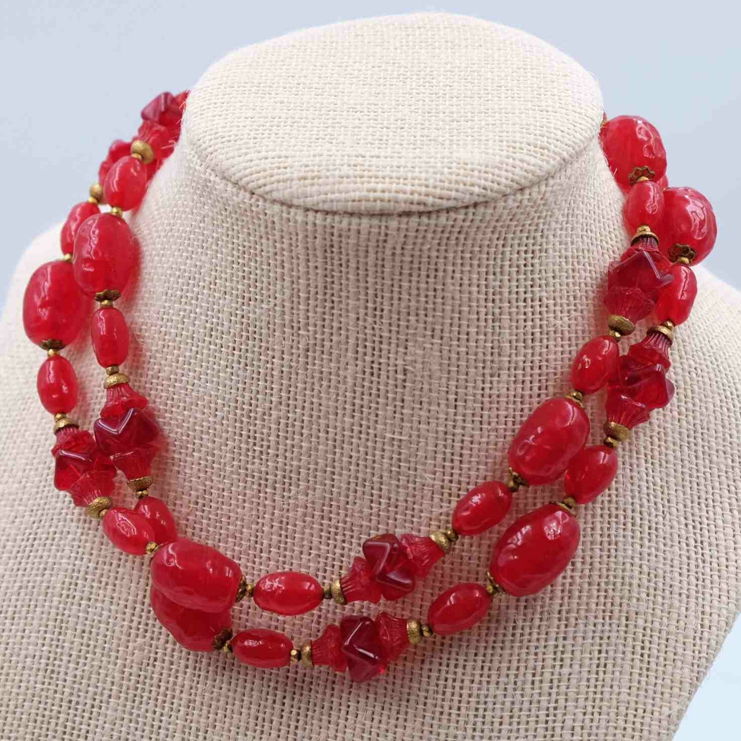 Vintage Miriam Haskell Red Ruby Glass Necklace 1950s