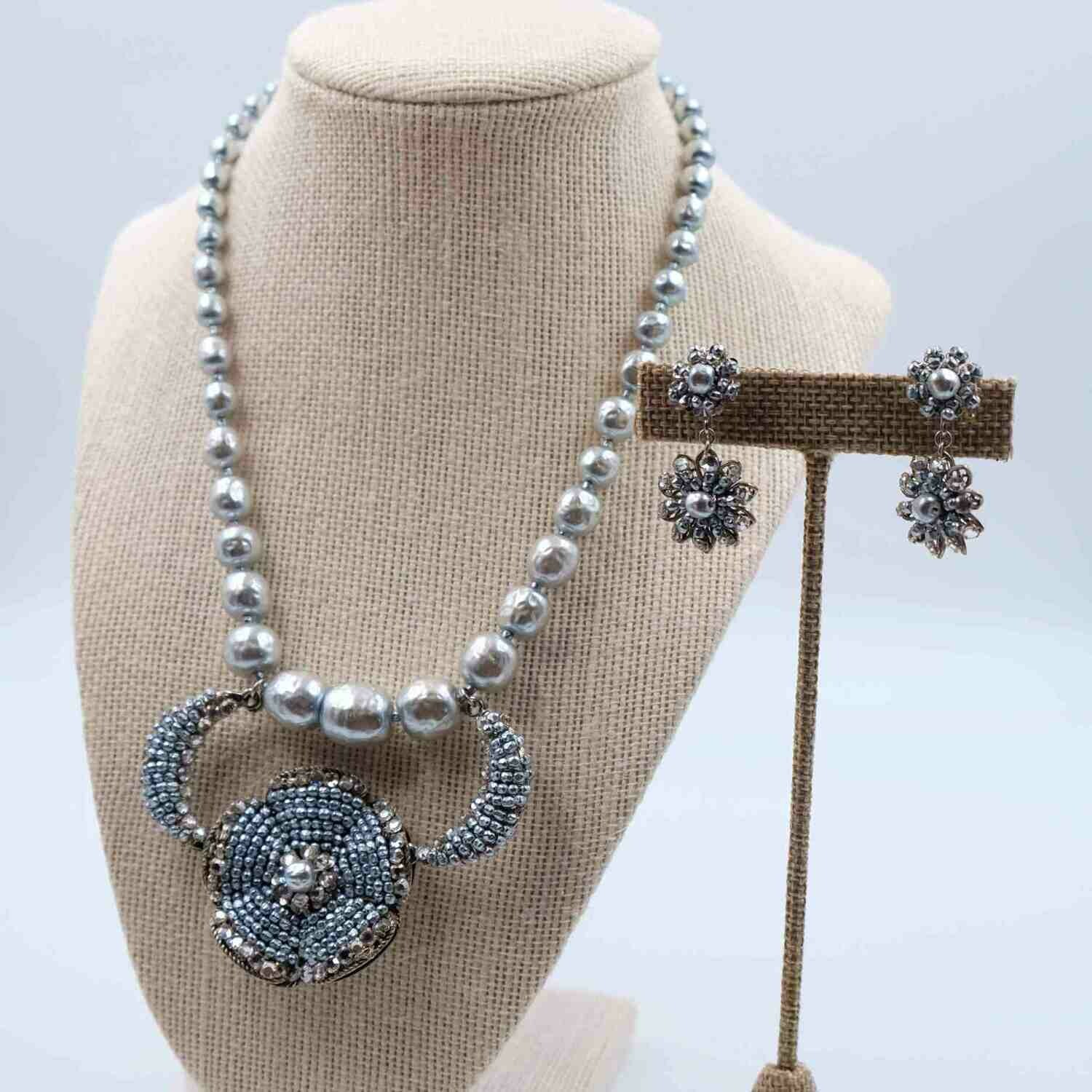 Very Rare Miriam Haskell Grey Faux Pearls Set