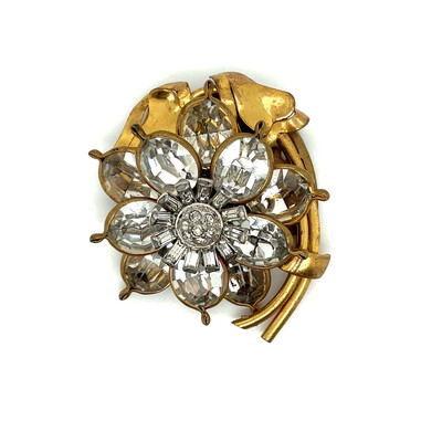 Vintage Flower Rhinestones Dress Clip 1930s